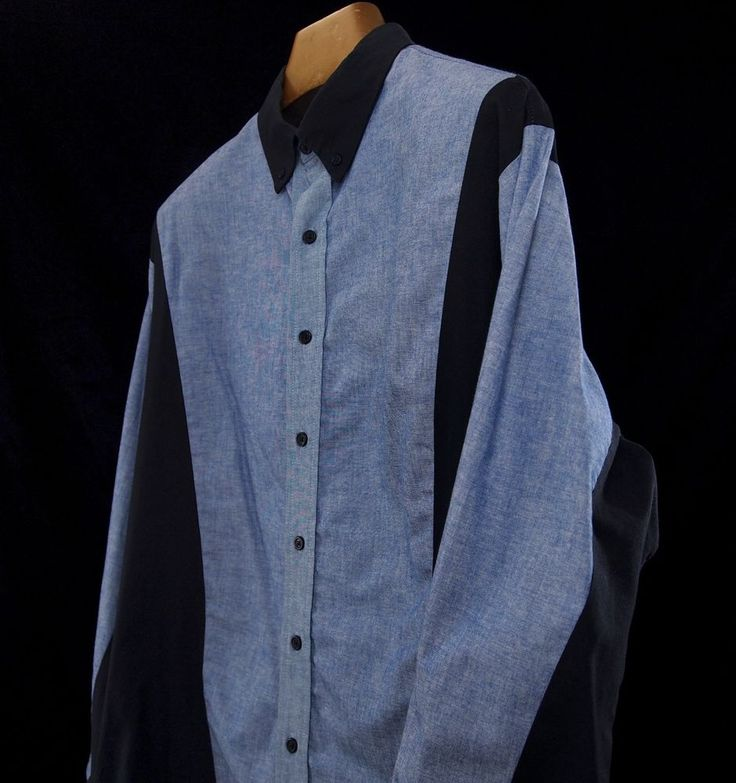 MO BETTA Mens XL Denim Garth BROOKS Sevens Shirt L/S VTG Western Rodeo Cowboy #MoBetta #ButtonFront
