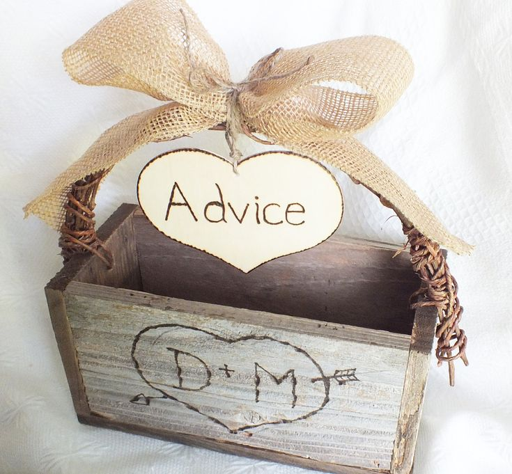 burlap wedding | Wedding Advice Card Box Rustic Wedding Decor Burlap Wedding Decor