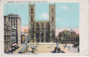 Weiss Import Postcard - Montreal, Notre Dame Church and Place D'Armes