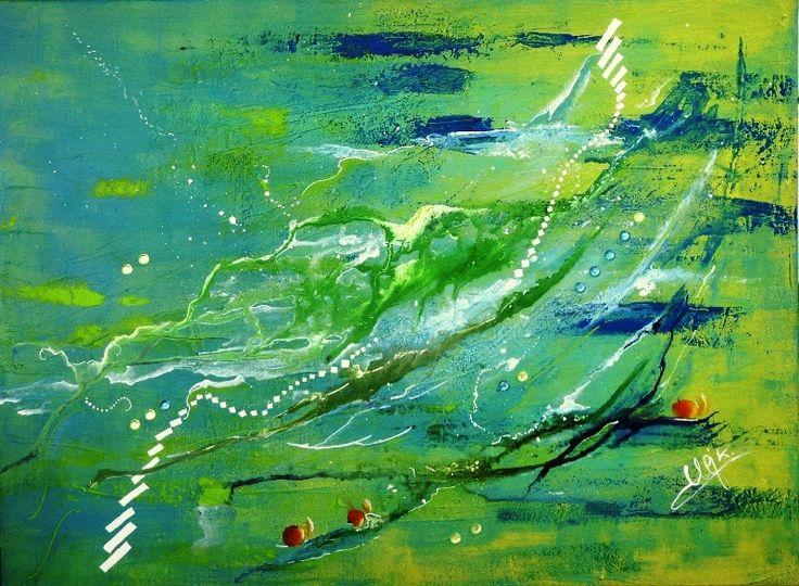 la carte des marais - acrylique vert- jaune bleu- filigranes blancs et pommes