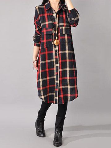 Gracila Casual Loose Plaid Women Shirts Dresses