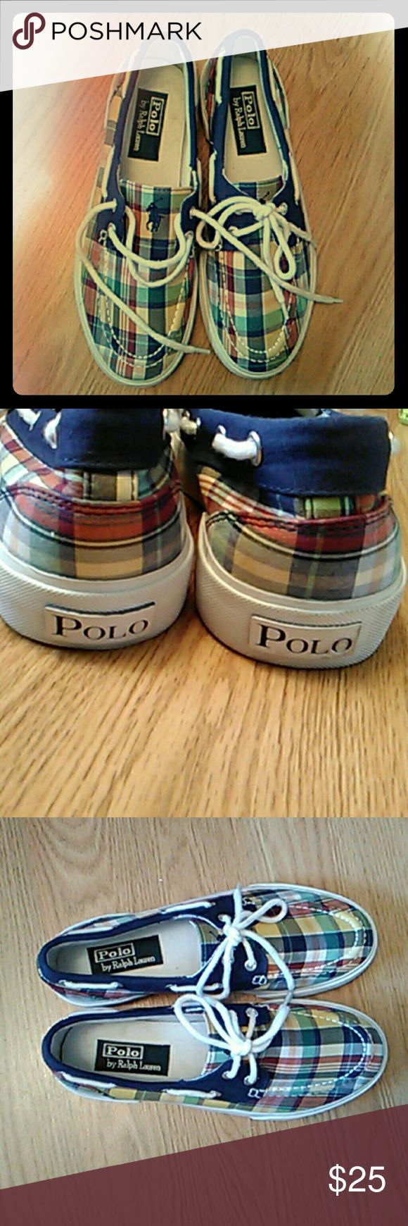 Unisex boat shoes EUC! Son only wore it once for me. If my size, I'd wear them for sure!! Polo by Ralph Lauren Shoes Boat Shoes