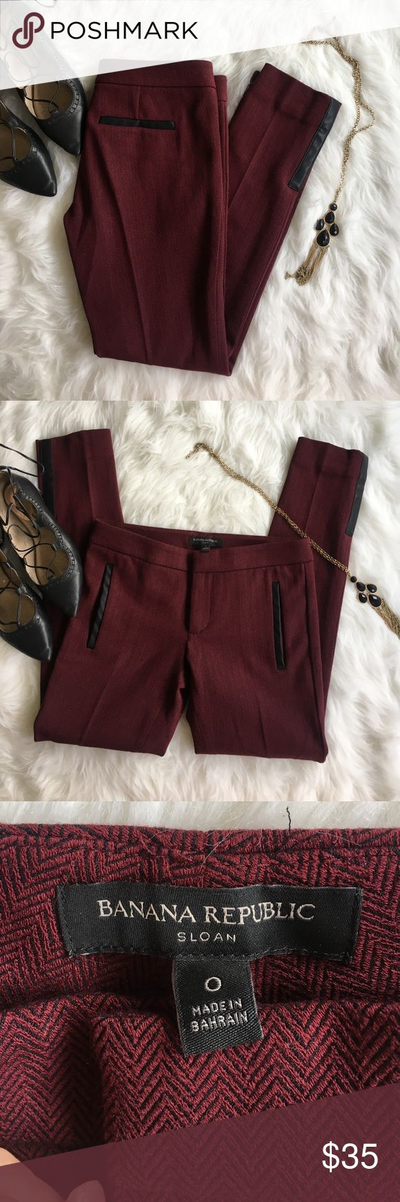 Banana Republic Sloan slim ankle pants Deep wine and black slim fit ankle slacks with leather details. In absolute perfect condition, and perfect for trendy business attire! From a smoke free home! Banana Republic Pants Skinny
