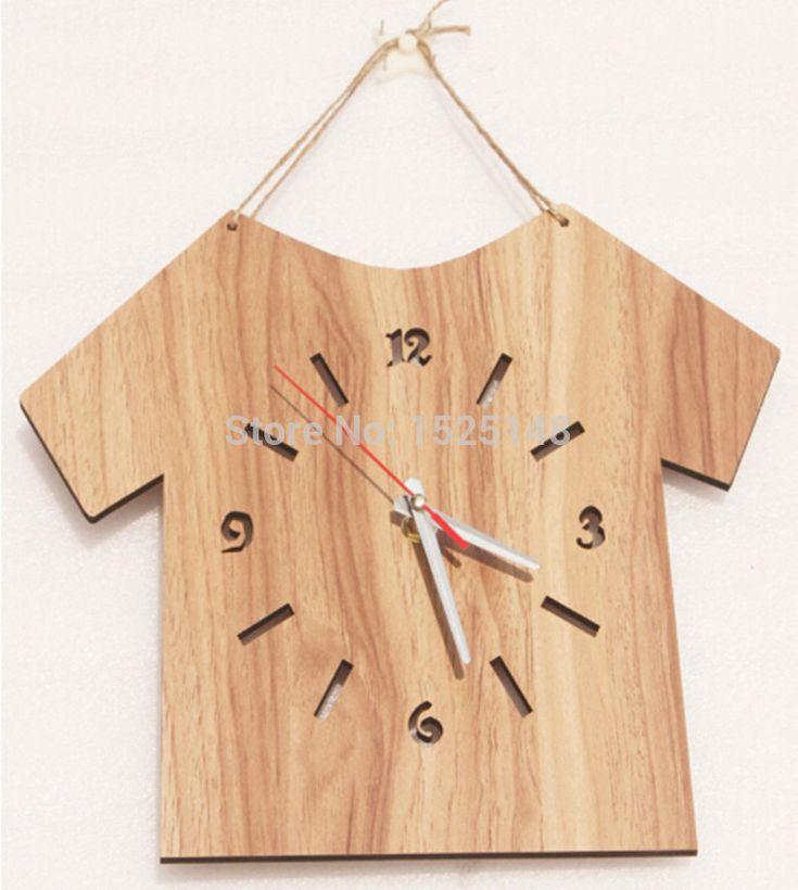 wooden clock   2015 new simple type wooden wall clock modern design home decor wall ...