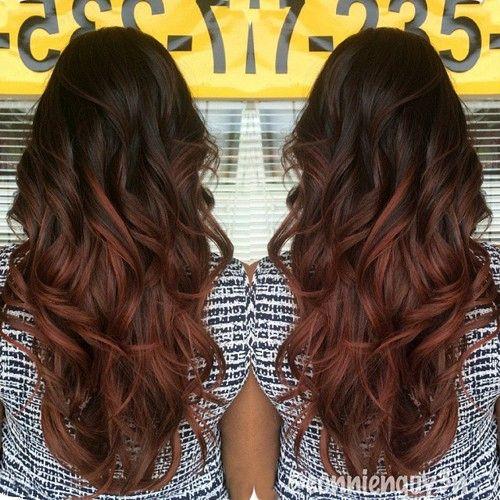 dark brown to reddish brown ombre