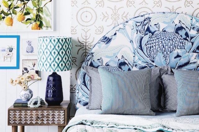 BedNest Avalon bedhead in Utopia Goods Wild Waratah fabric for House & Garden Jan 2016 issue. Styled by Kate Nixon. Image - Chris Warnes