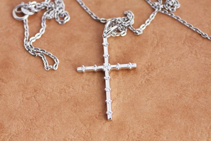 Diamond Cross pendant in White Gold, Rose Gold, Yellow Gold / Gold Diamond Cross / Gold Cross Pendant / Baptism cross / Brilliant cut jewel by PetrosJewels on Etsy