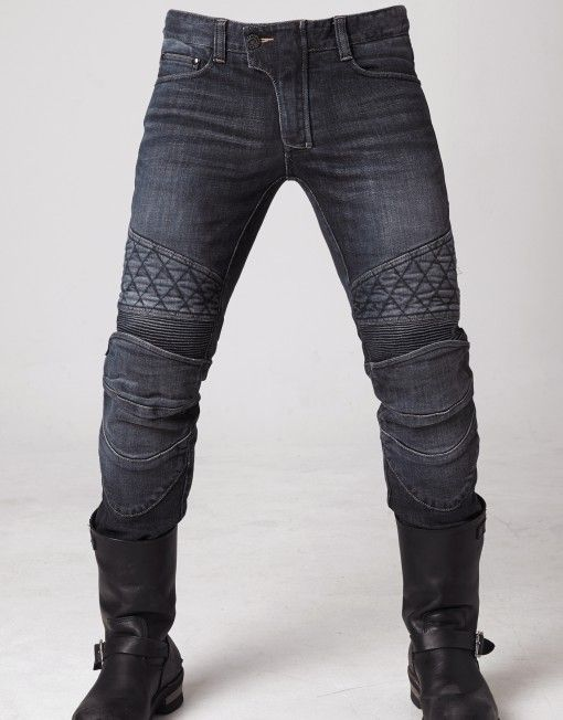 Ugly Bros: guardian motorcycle pants thigh panels • 12oz stretched Denim • Elastic shirring knee & waist-lower back panels • CE approved Removable knee & hip protectors included • YKK® Zipper • POWERTECTOR®
