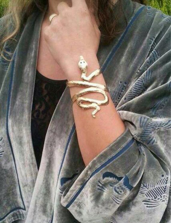 Snake Bracelet. Gold Snake Arm Cuff . Metalwork by ZOZidesign