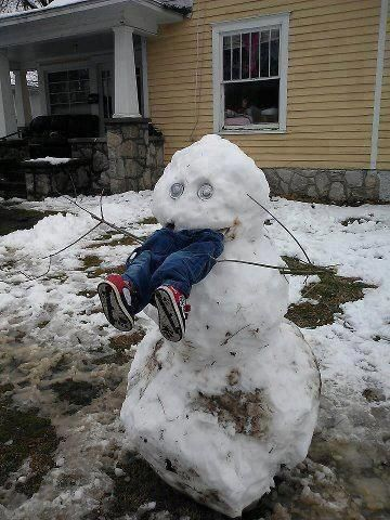 Writing Prompt: What happened to the little kid from next door? Create a story using setting and dialog to explain how he ended up in the mouth of a snowman.