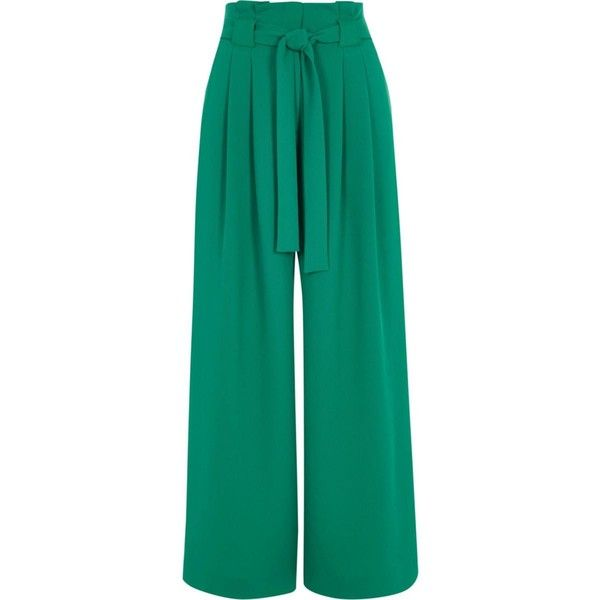 Petite green paperbag waist wide leg trousers (€60) ❤ liked on Polyvore featuring pants, paperbag pants, tie waist trousers, green wide leg trousers, wide-leg trousers and zip pants