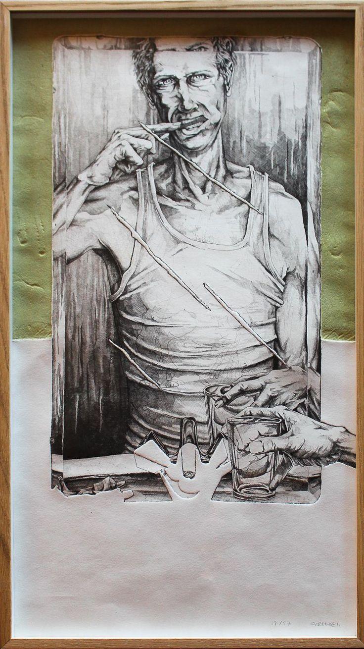 Autorretrato.                                                                                                Obra gráfica. Edición: 17/57.                                                                                                        Mancha: 58 x 32 cm.