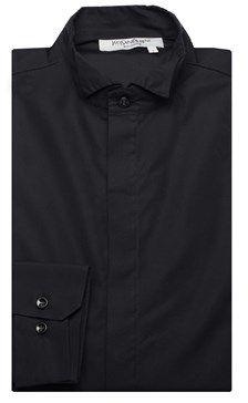 Saint Laurent Men's Cotton Wing Collar Dress Shirt Black.