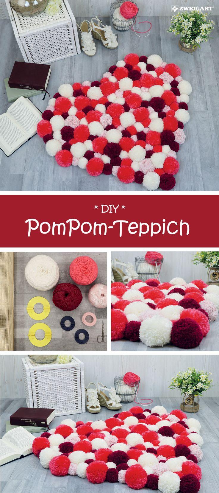 Machen Sie sich selbst einen schönen PomPom-Teppich mit einer Schritt-für-Schritt-Anleitung #DIY / …   – HOME DECORATION