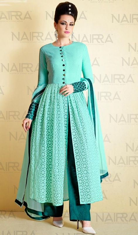 Aqua Green Color Shaded Georgette and Net Palazzo Suit