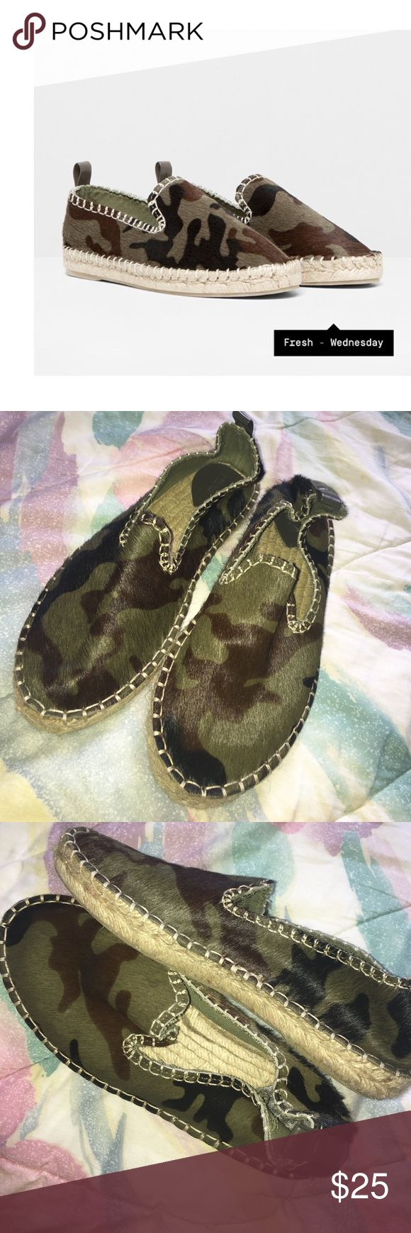 Pull&bear Army Camo Espadrilles Super cute camo espadrilles they are a euro size 37 but American size 6 only been worn once practically new. Pull&Bear Shoes Espadrilles