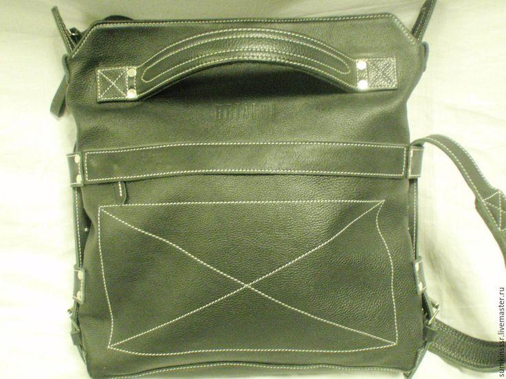 Купить Кожаная сумка-ранец ручной работы ВСРА-дер. Россия. - черный, Кожаная сумка