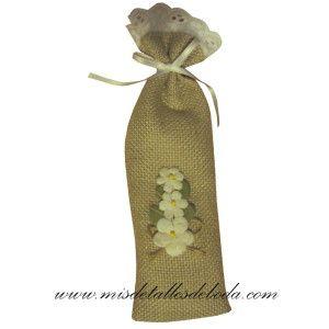 Funda de yute para abanico decorada con flores de papel