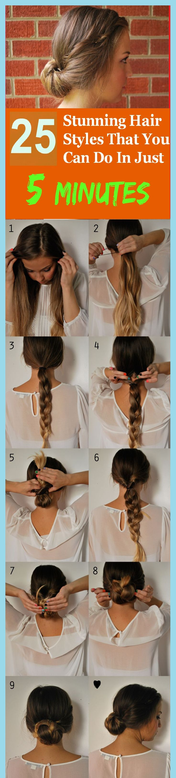 25 Stunning Hair Styles That You Can Do In Just 5 Minutes - I really need to start practicing civilian hair lol