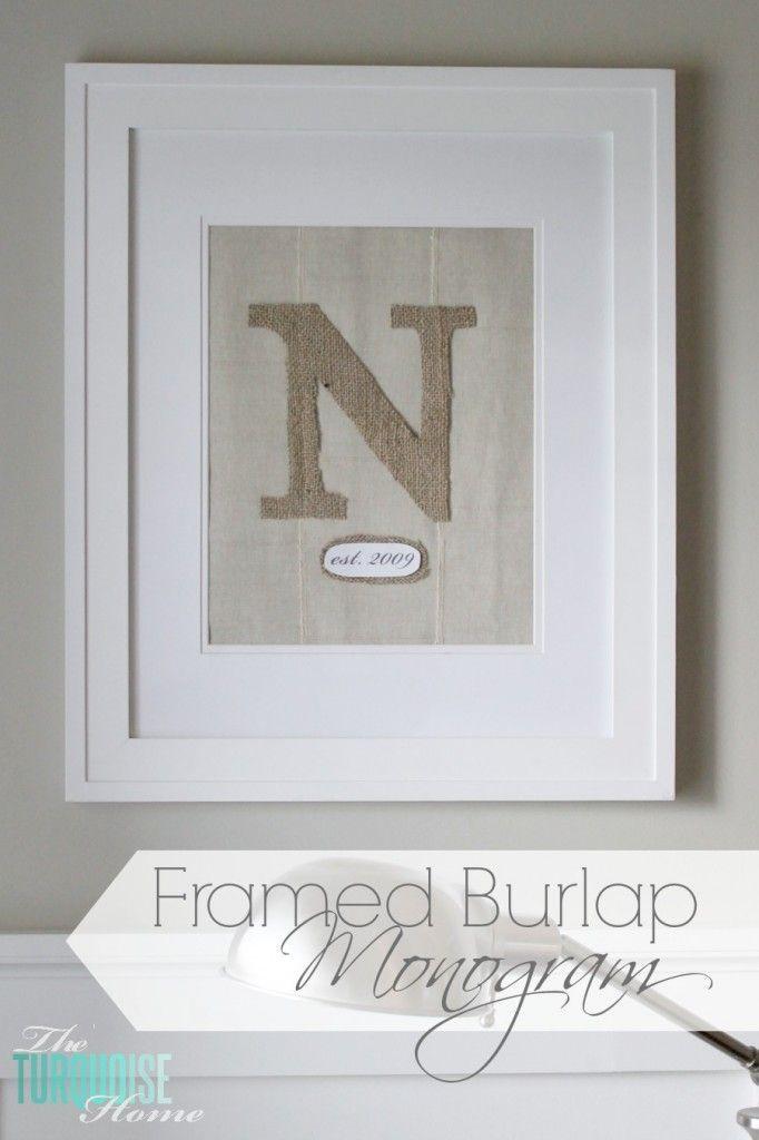 Framed Burlap Monogram   TheTurquoiseHome.com