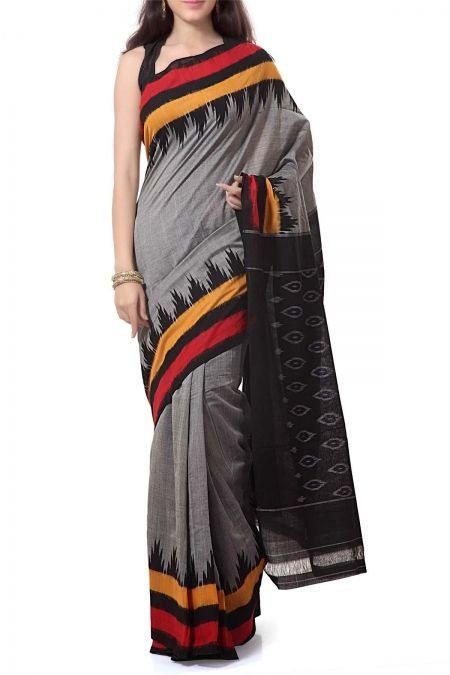 Gray Temple Border Cotton Ikat Saree
