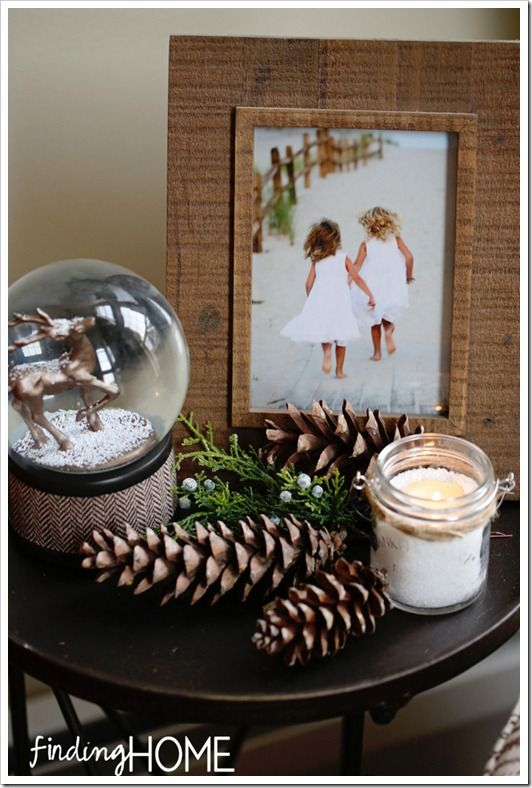 rustic decor for winter time end tables