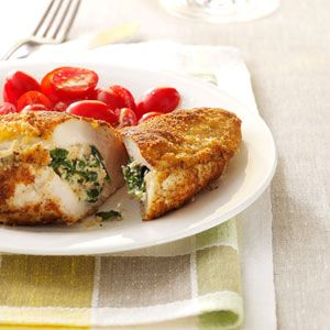 Spinach-Stuffed Chicken Pockets Recipe from Taste of Home