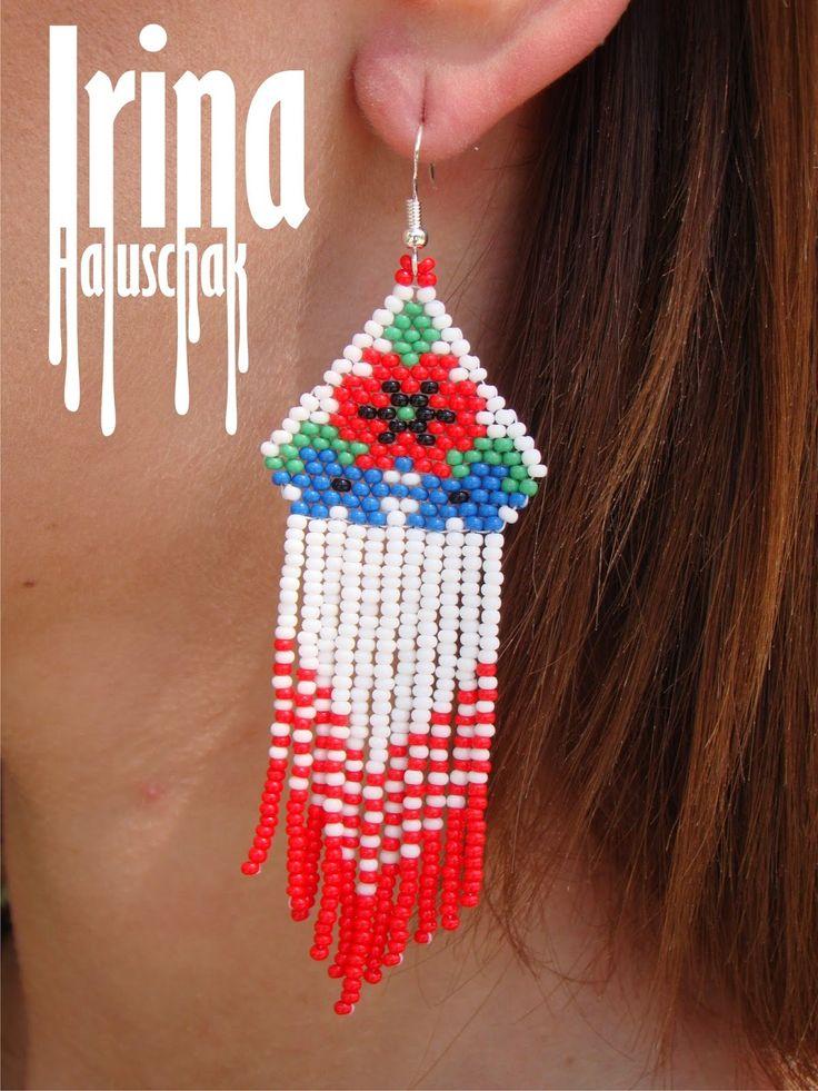 "Hand-made by Irina Haluschak: Сережки ""Маки з волошками"""
