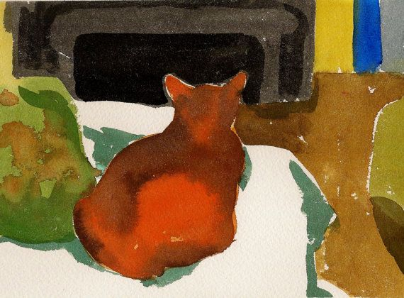 At the cat's cottage Original watercolor by annamariapotamiti