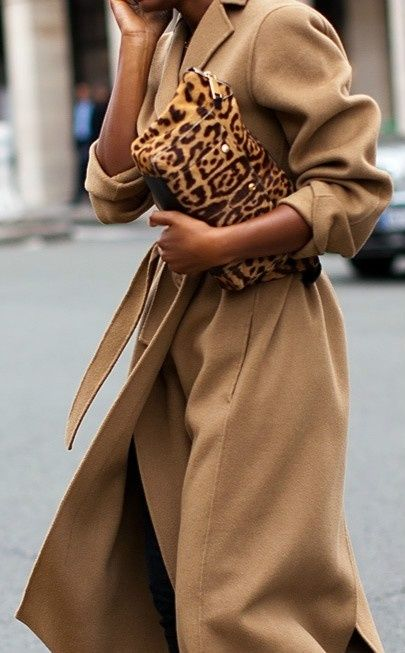 Camel Coat with a pony hair leopard print clutch is the only accessory you need for a walk on the wild side! x