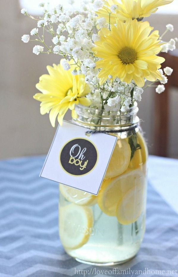 Gray & Yellow Baby Shower Decorating Ideas. Easy centerpieces with lemon…