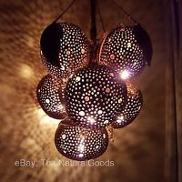 New Wooden Hanging Lamp made of Coconut Shell - Asian Night Light Wood Shades