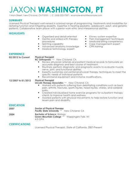 Physical Therapist Resume Examples Pinterest Resume Examples