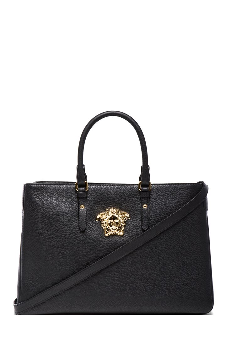 VERSACE | Large Satchel in Black & Gold