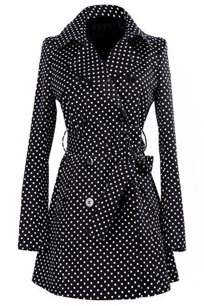 Vintage Turn-Down Collar Long Sleeve Polka Dot Self Tie Belt Coat Dress For Women