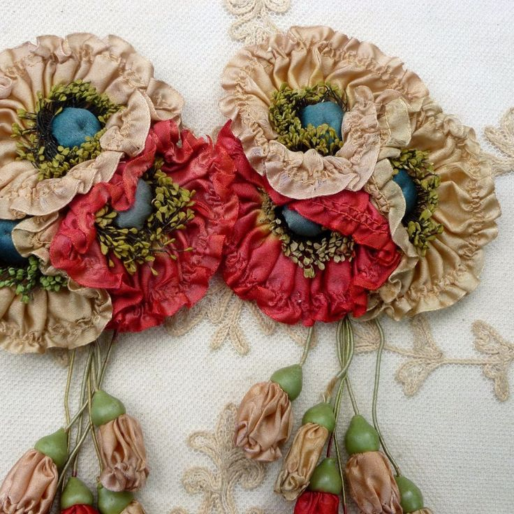 Antique Silk Ribbon Work Flowers and Buds sold by a vendor at Ebay How inspirational!