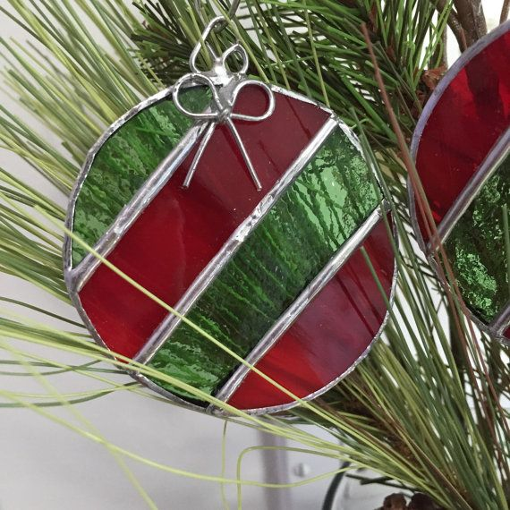 Ornament  Striped Balls with Silver Bows  by MomsGlasshouse