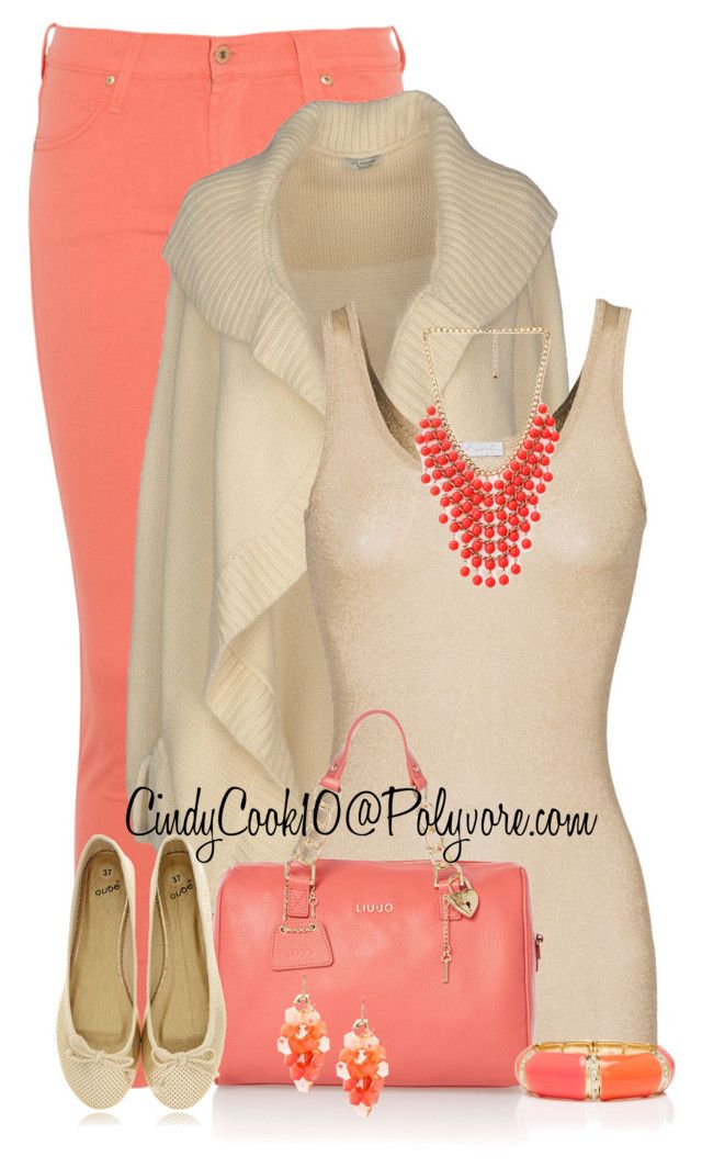"""Coral & Gold"" by cindycook10 ❤ liked on Polyvore featuring James Jeans, Le Ragazze Di St. Barth, iHeart, LIU•JO, Qube, Forever 21, Forever New, women's clothing, women's fashion and women"