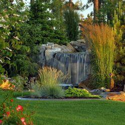 Beautiful waterfall in this backyard