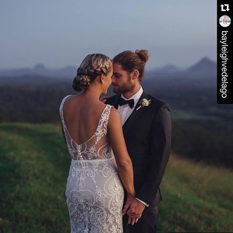 Real bride Baleigh wearing a custom Wendy Makin Couture gown, made from the Shani lace. Low back, white lace,