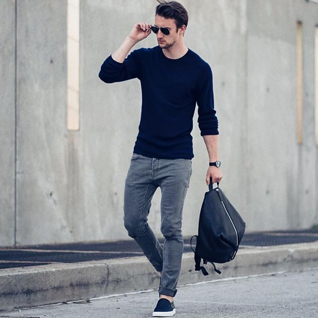 Black sweater gray jeans and slipons by marcelfloruss [ ] royalfashionist  marcosdeandradeofficial