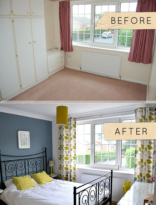 before/after, old room to a new and beautiful one. love the colors yellow, blue/grey & some kind of green.