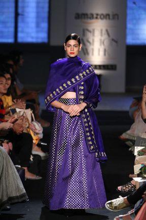 Lehenga - Sanjay Garg - Indigo blue mashru silk lehenga with plain dupatta - Amazon India Fashion Week Spring-Summer 2016