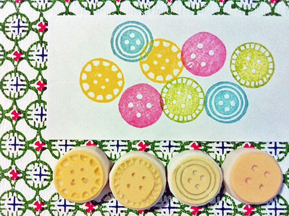 button rubber stamp set. hand carved rubber stamp. vintage inspired sewing buttons. for gift wrapping/card making/craft projects. set of 4