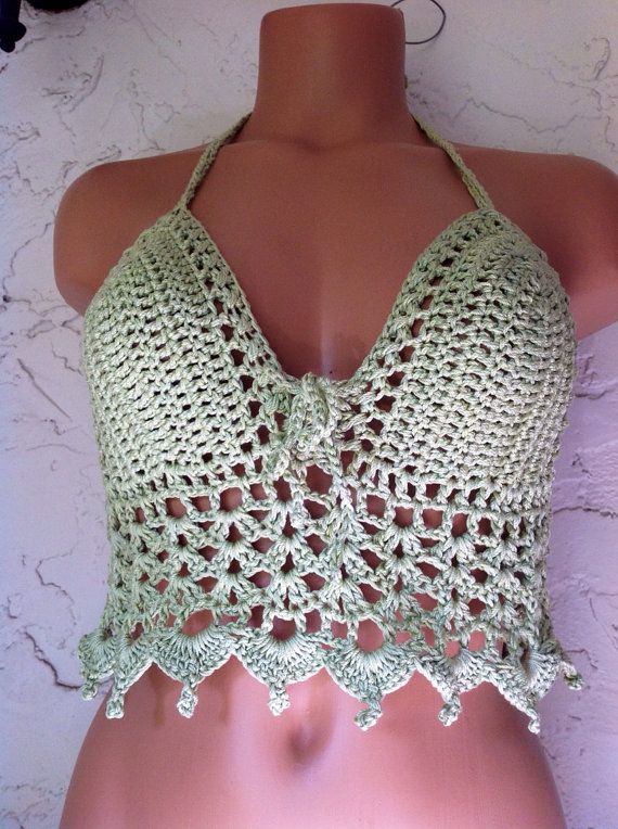 Sexy Crochet Halter top Pattern in PDF.. by ErenaCrochetStudio