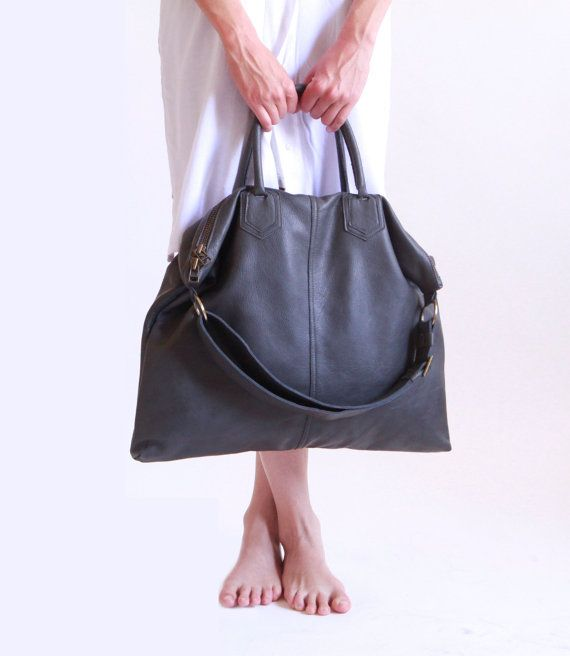 Grey Leather Over Size Tote Bag / Dark Gray by LadyBirdesign
