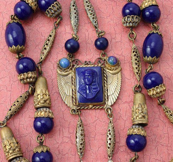 Signed NN RAREST signature Neiger poss Bros Brothers Egyptian Revival Necklace Czech lapis glass beads original Antique Art Deco VINTAGE