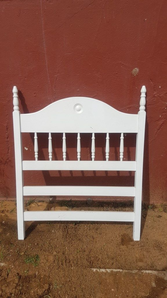 White Single Headboard ONLY (L 93.5 cm, H 115.5 cm) ideal for a girls room  PRICE R395