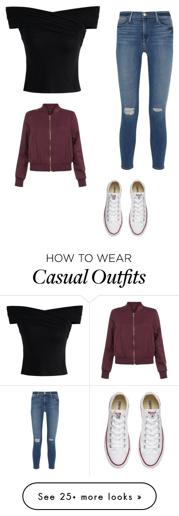 """Casual Day Outfit "" by lsantana13 on Polyvore featuring Chicwish, Frame Denim, New Look and Converse"
