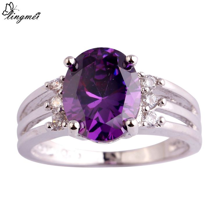 lingmei Wholesale Elegant Amethyst & White CZ Silver Ring Size 6 7 8 9 10 Women Facile Design European Fashion Jewelry